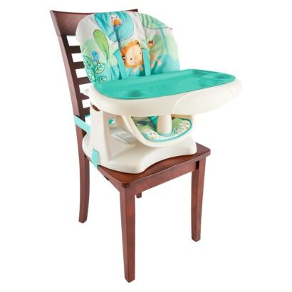 Bright Starts Playful Pals Chair Top High Chair. Maybe not this one but I like this idea better than a full size highchair.  Would save so much space.
