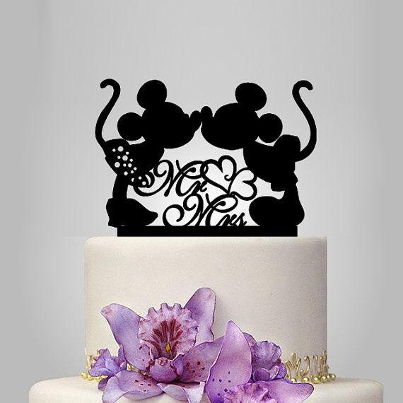 Mickey et Minnie topper gâteau de souris silhouette, mr et topper gâteau mariage Mme décor coeur, topper gâteau de mariage disney