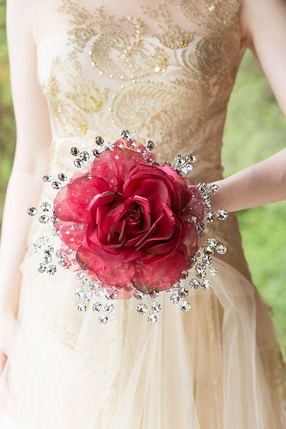 Wedding Flowers - Red Rose Bridal Bouquet w/ Mirrored Beads - Glamelia Compostite Style - Fabulous Brooch Bouquet Alternative w/ Boutonniere