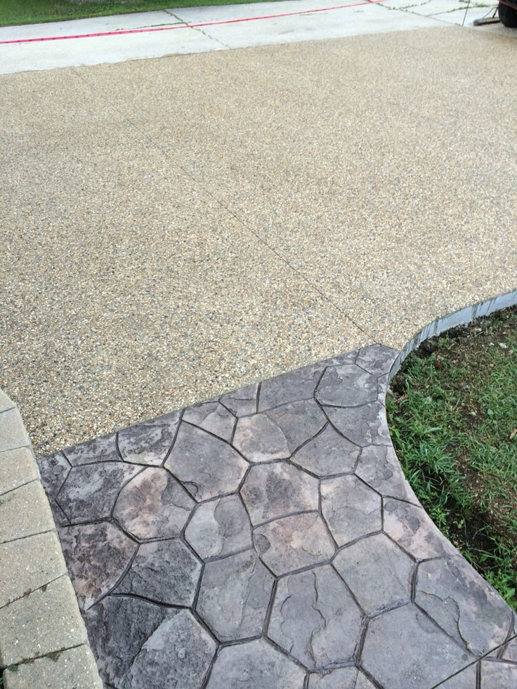 Exposed & Stamped concrete driveway & sidewalk www.panelconcrete.com