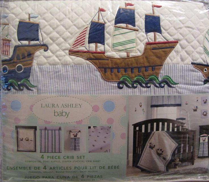 Laura Ashley Pirate Adventure Sail Boats 4 pc Crib Set Comforter Diaper Stacker  | eBay