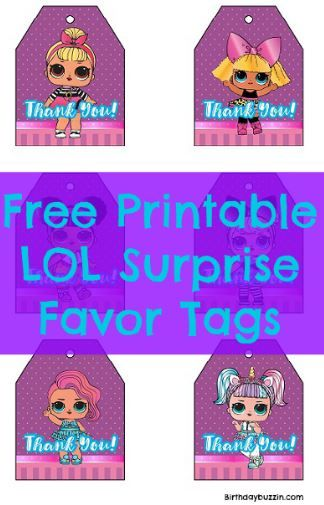 Free Printable LOL Surprise Favor Tags | Birthday party ...