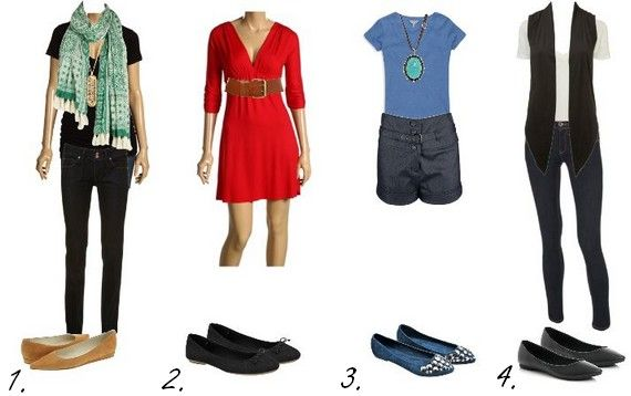 Set of outfit ideas for hourglass women who are also petite - under 5'2