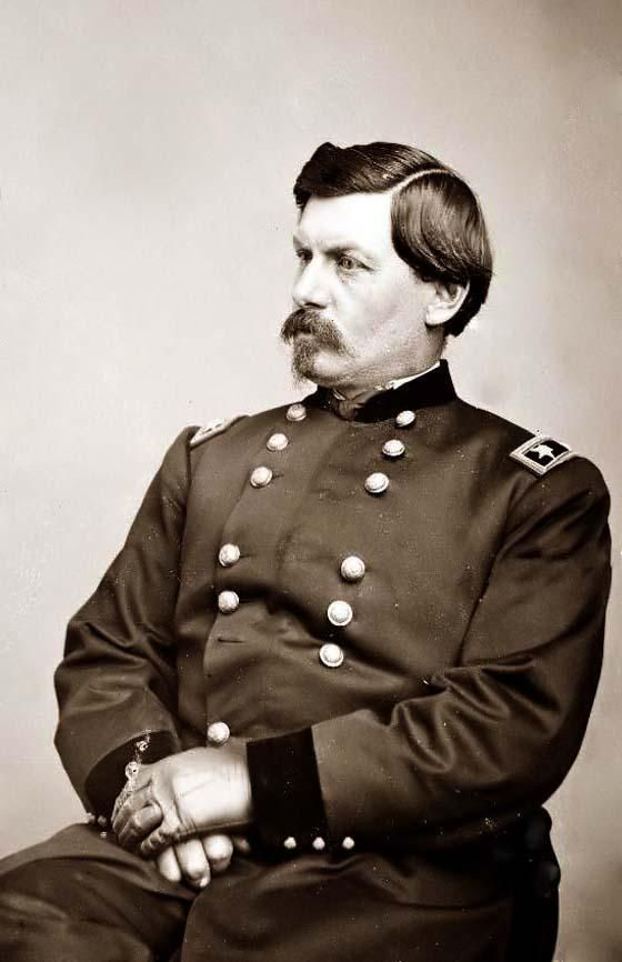 U.S. General George B. McClellan (1826 - 1885) was a major general during the American Civil War and the Democratic presidential nominee in 1864. He organized the famous Army of the Potomac and served briefly (November 1861 to March 1862) as the general-in-chief of the Union Army.