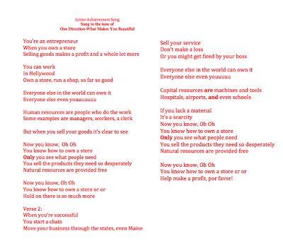 Junior Achievement song teaching vocabulary