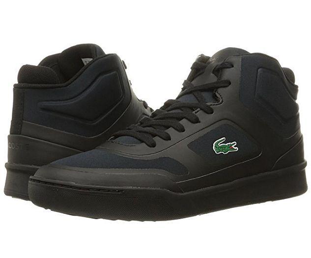 Buty wyższe męskie #LACOSTE Explorateur MID 316 to zupełna NOWOŚĆ!!!  Obuwie jest idealne do użytku na co dzień.  - Kolor butów: czarny, - Kolor podeszwy: czarny, - Materiał wykonania: najwyższej jakości materiały tekstylne oraz syntetyczne (dodatki), - Sposób wiązania: na sznurówki, - Wkładka wnętrzna: Eco OrthoLite - Strona zewnętrzna: logo Lacoste, - Strona wewnętrzna: ozdobne przeszycia,  - Pięta: napis Lacoste.   #butymęskie #obuwiesportowe #kolekcjaLacoste #obuwiemeskie #butyLacoste