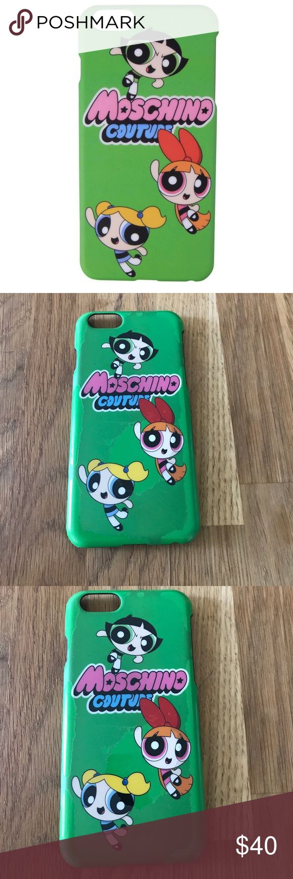 Moschino Power Puff Girls iPhone 6 case A little worn, the top layer is chipping off but the underneath is still gorgeous!  A total collectors item, these sold out everywhere! Moschino Accessories Phone Cases