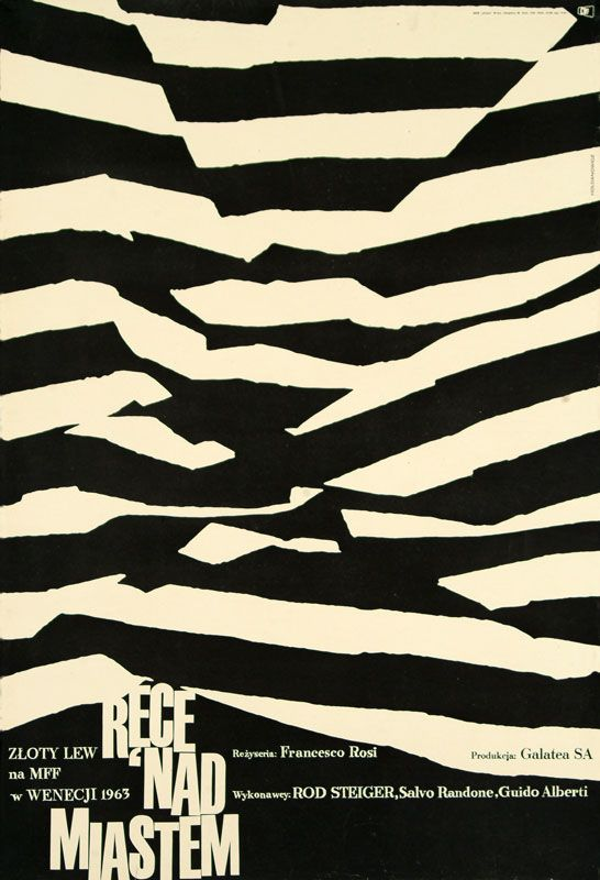 """Leszek Hołdanowicz, plakat do filmu """"Ręce nad miastem"""", reż. Francesco Rosi, 1964, fot. Muzeum Plakatu w Wilanowie"""