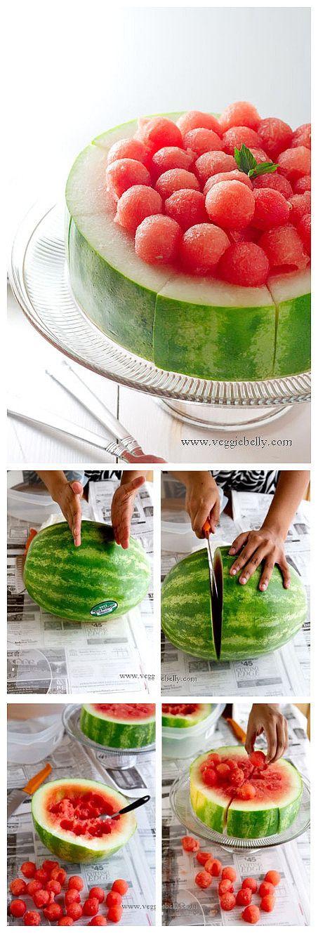 Watermelon fruit platter. Very fun way of serving fruit!
