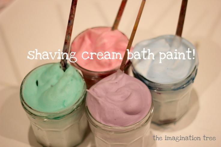 Shaving Cream Bath Paint!: shaving cream and food coloring