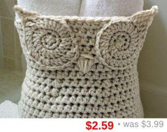 Crochet Pattern Owl Basket Crochet Pattern Home Decor by zxcvvcxz