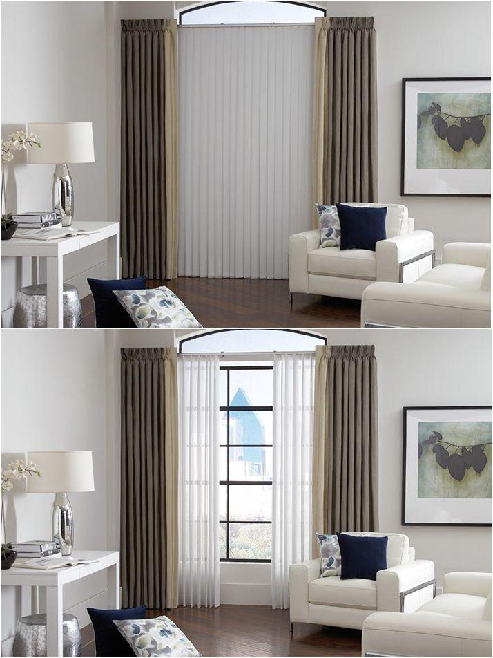 Lafayette sheer visions white sheer vertical blinds for Living room vertical blinds