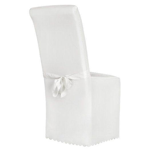 TecTake Coprisedie della sedia rivestimento matrimonio universale con fiocco bianco