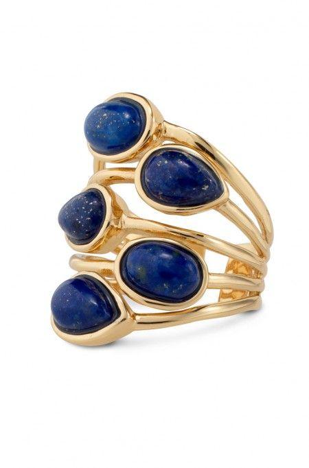 Blue Lapis Lazuli Ring, Thin Gold Band Ring   Pauline Ring