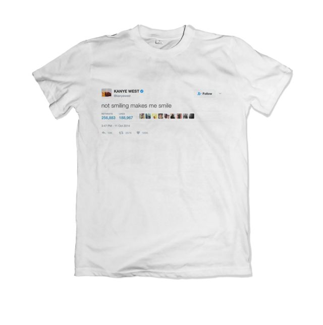 """Shop Now: Kanye West - """"Not smiling makes me smile"""" Tee available online ✨  http://teetweets.com/products/kanye-west-not-smiling-makes-me-smile-shirt?utm_campaign=crowdfire&utm_content=crowdfire&utm_medium=social&utm_source=pinterest"""