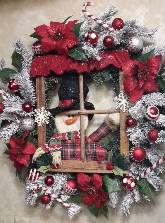 Snowman in Window Wreath Christmas Holiday Winter Door