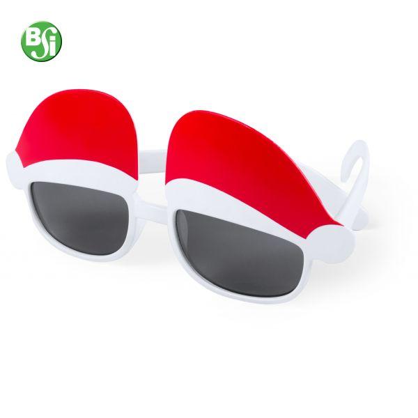 Occhiali da sole in plastica con cappellini di babbo natale sulle lenti e protezione UV 400.  #occhialidasole #gadgetpersonalizzati #bsigadget #natale #gift #christmas
