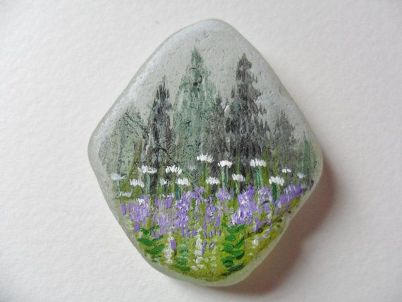 Misty Spring Morning - Original acrylic miniature painting on English sea glass