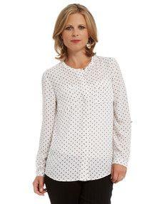 Ella J Classic Woven Collarless Spotty Shirt product photo