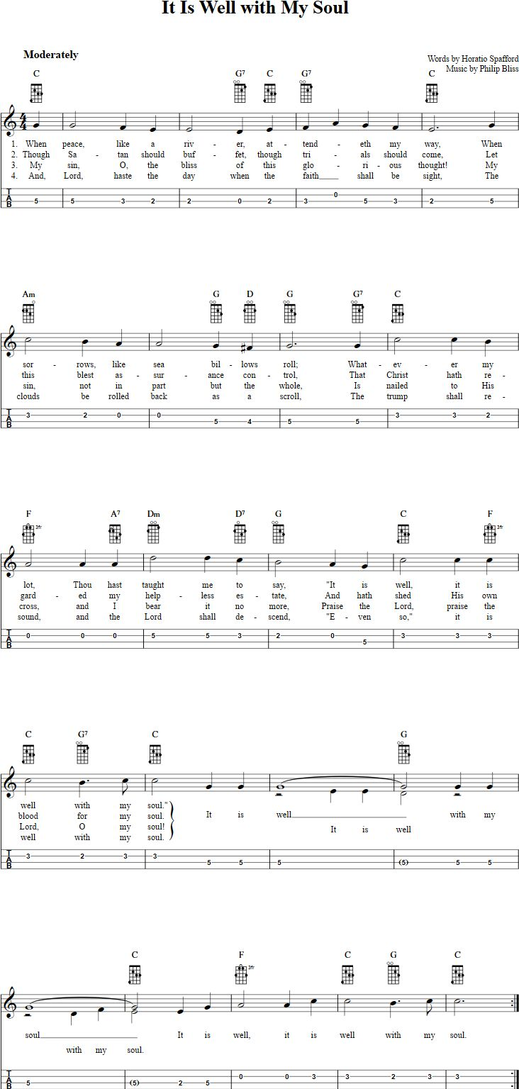 46 best mandolin images on pinterest music education mandolin free mandolin sheet music for it is well with my soul with chord diagrams lyrics and tablature this music will also work on tenor banjo in gdae tuning hexwebz Images