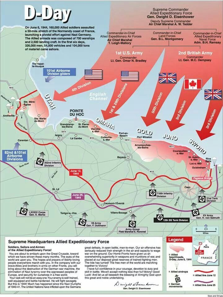 The map above shows exactly where the Allies landed during D-Day on the coastline of Normandy, and how German troops moved out to the coast from inland positions.