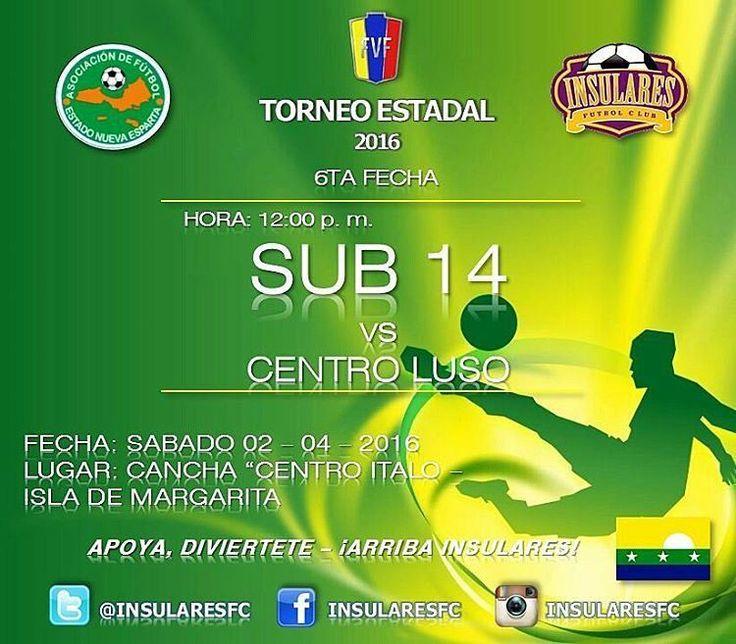 "-  #ESTADAL2016 | Próxima jornada de nuestra #SUB14 en el #TorneoEstadal del presente año | SÁBADO 02/04/16 @Insularesfc vs #CentroLuso |#J6| Hora: 12:00 p. m. | Cancha: ""Centro Italo - Isla de Margarita | #YoSoyInsularesfc #Islademargarita #margaritaisland #margarita #porlamar #pampatar #losrobles #nuevaesparta #venezuela #futbol #soccer #futebol #instafut #futve #somosinsularesfc #fvf #instapic #kids #adidas #afene #like4like #like #fifa16 #fifa #l4l"