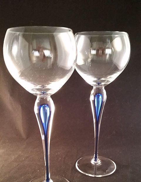 Orrefors Balloon Shape Tall Stemware with Blue Drip Stem S/2