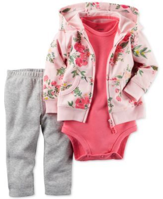 Carter's Baby French Terry Girls' 3-Pc. Floral-Print Hoodie, Bodysuit & Leggings Set