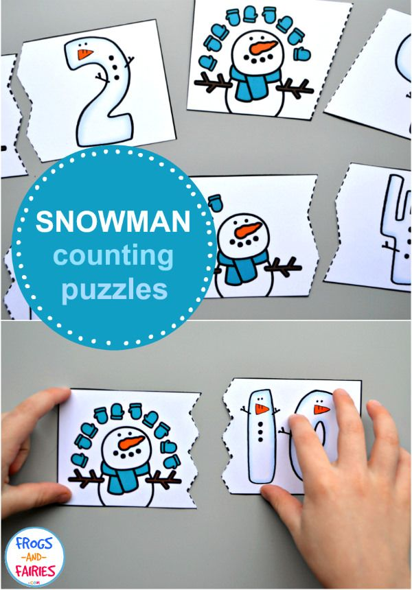Free Snowman Counting Puzzles! A fun way for kids to work on counting and number recognition this winter! #snowmanfreebies #wintermathfreebies