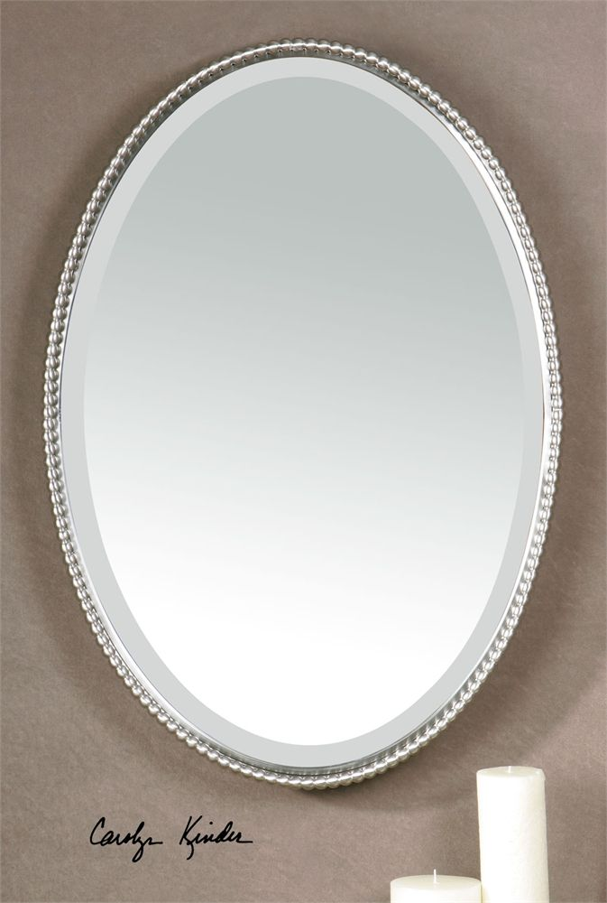 (22 W X 32 H) Uttermost Sherise Brushed Nickel Oval Mirror