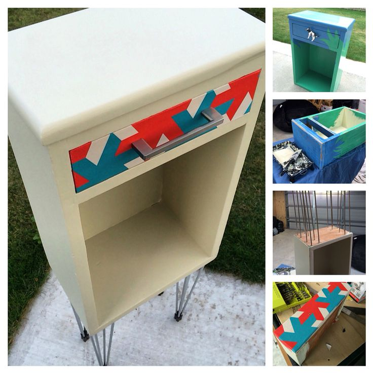 Turned a kitschy piece of junk into a pretty graphic looking side table - upcycled - total cost $0