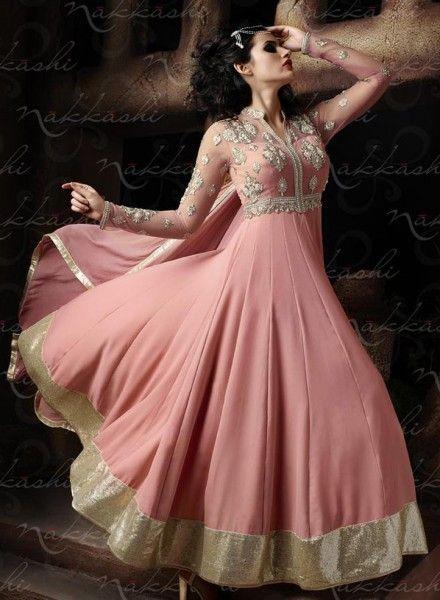 Rose Pink ankle length Indian designer anarkali suit in crepe silk H15429
