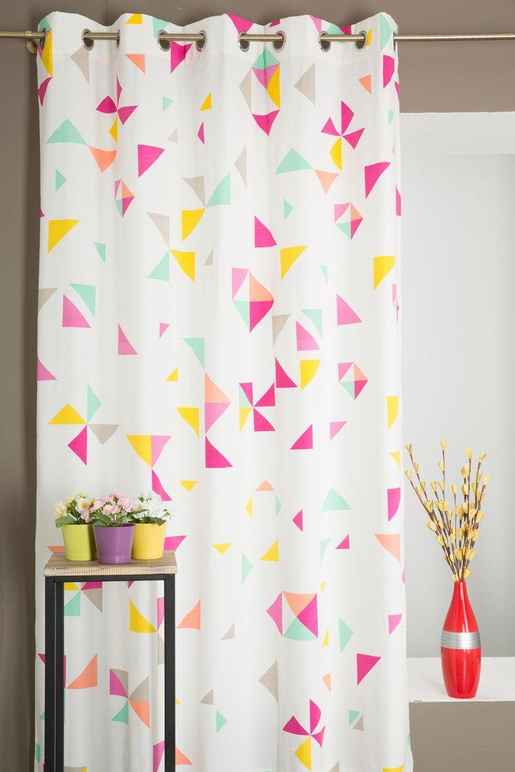 Paire de Rideau Poly-Coton Motif Formes Géométriques Multicolore