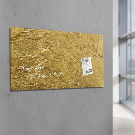 Tableau magnétique en verre artverum® Design Metallic-Gold, 91 x 46 cm