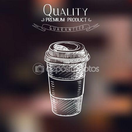 mão desenhada doodle desenho vintage de copo de papel de takeaway café Menu de restaurante, cafetaria, bar, cafeteria — Ilustração de Stock #69278417