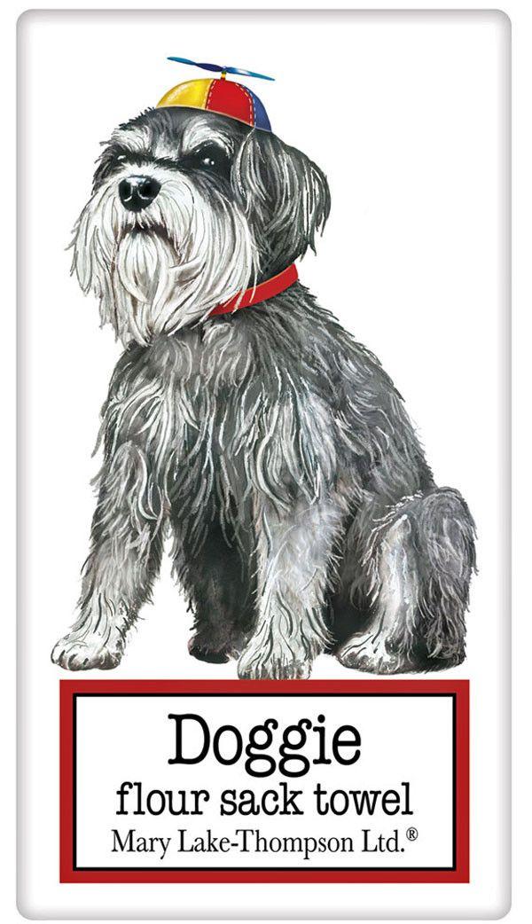 Summer Miniature Schnauzer Dog 100% Cotton Flour Sack Dish Towel Tea Towel