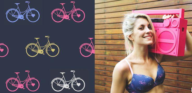 "Diseño de Pattern ""bicicletas"" para Pompavana Underwear.Por: Belen Garat"
