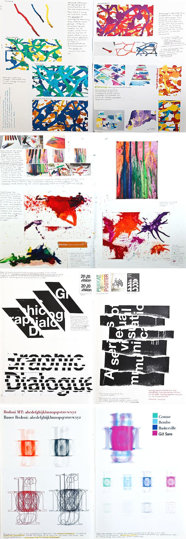 With exuberant and vibrant pages, Susanna Foppoli's sketchbook is a perfect example of what a sketchbook should be: a space to explore, play and experiment with different ideas, media and techniques. The typographic exploration (manipulating, tearing, cutting, scanning) rework classic typefaces to produce modern and exciting outcomes.