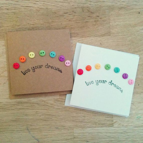 Very cute handmade rainbow button quote card  live your