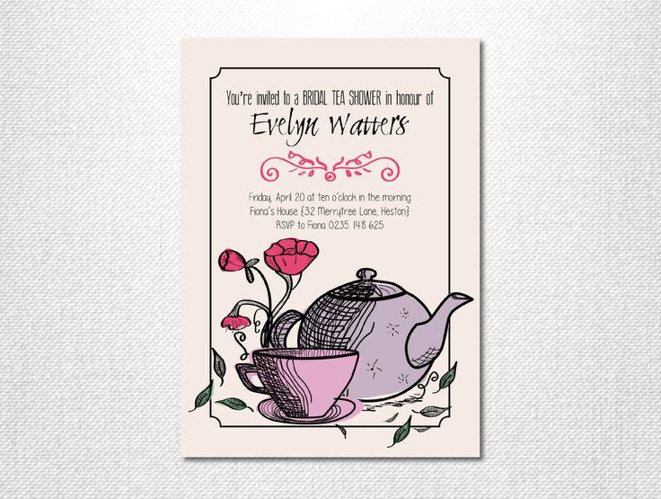Bridal Shower Invitation ~ Bridal Tea Invitation ~ Bridal Tea Party Invitations ~ High Tea Invitation ~ Printed Invitations ~ DIY PRINTABLE