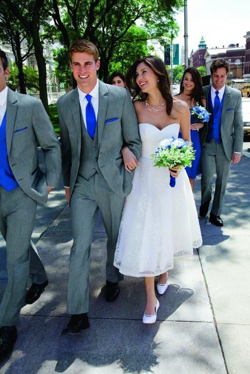 Gray tux/suit with cobalt accents