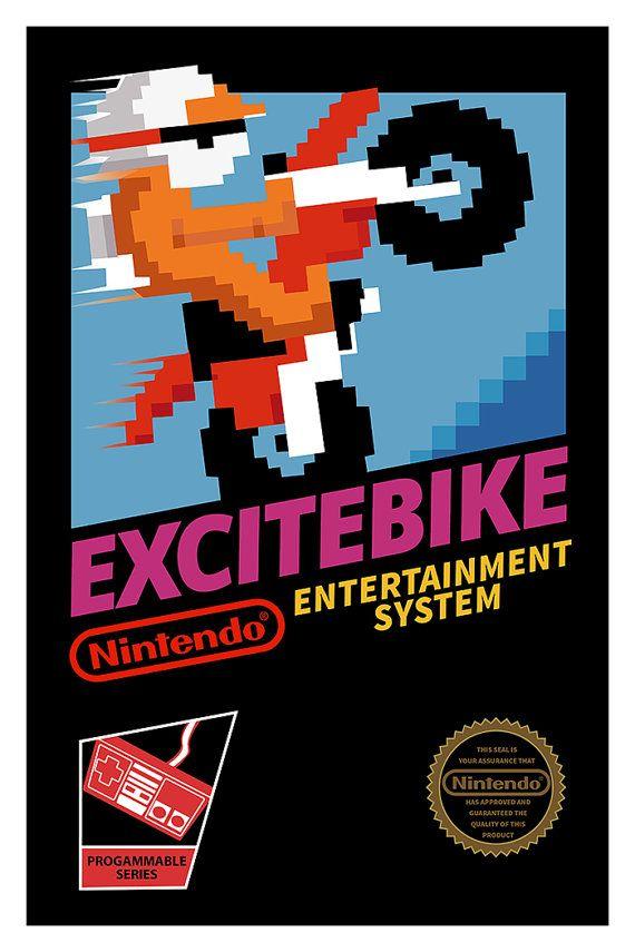 Excitebike Poster Nintendo 8bits NES Video Game by GeekyPrints