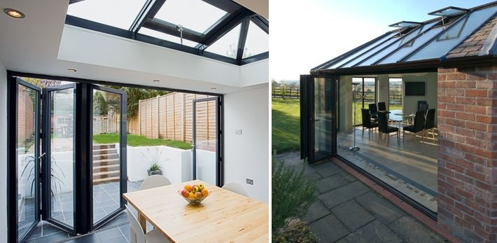 Folding sliding doors apropos conservatories for Sliding glass doors extension