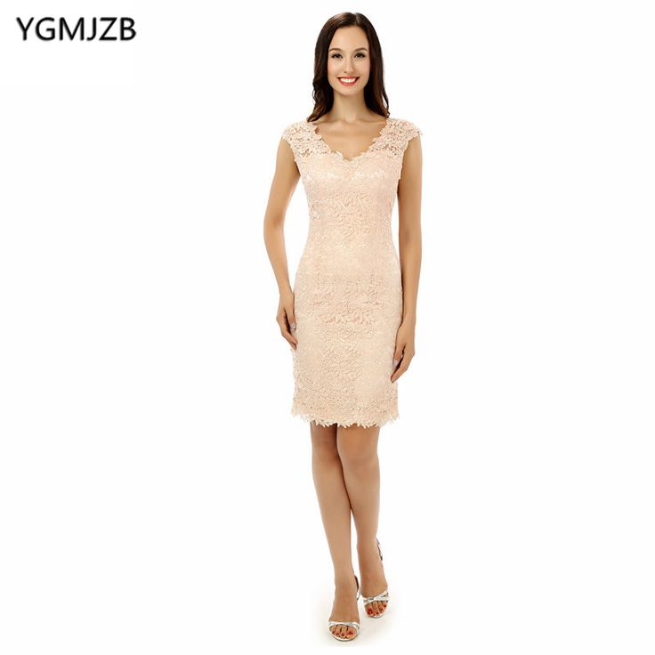 Find More Mother of the Bride Dresses Information about Plus Size Pink 2018 Mother Of The Bride Dresses Sheath V Neck Cap Sleeves Knee Length Lace Short Mother Dress For Wedding,High Quality mothers dresses for weddings,China short mother dresses Suppliers, Cheap mother dress from Shop1404230 Store on Aliexpress.com