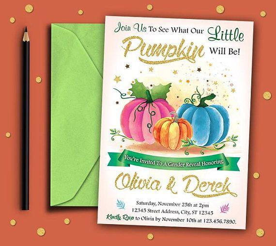 Pumpkin Gender Reveal Invitation Pumpkin Invitation Pumpkin