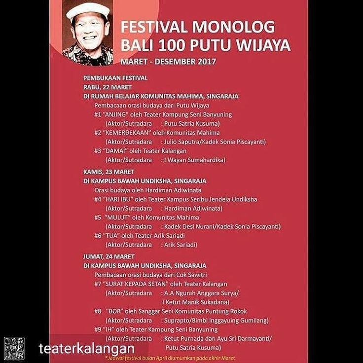 from @teaterkalangan -  Saksikan pentas monolog Putu Wijaya oleh Teater Kalangan 'DAMAI' (aktor/sutradara : I Wayan Sumahardika ) Rabu 22 Maret 2017 pukul 19.00 WITA di Rumah Belajar Singaraja. 'SURAT KEPADA SETAN'(aktor/sutradara : A.A. Ngurah Anggara Surya / I Ketut Manik Sukadana) Jum'at 24 Maret 2017 pukul 19.00 WITA di Kampus Bawah Undiksha Singaraja.  Tim Produksi : Santiasa Putu Putra Gede Gita Wiastra Bulan Wijayanti Julio Saputra Kadek Surya Kencana Wulan Dewi Saraswati Dewa G…
