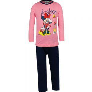 Disney kinderpyjama van CorazonKids Minnie Mouse Fashion Roze. Dit is een kinderpyjama met een blauwe broek voor de koude winter dagen. De trui heeft een ronde halslijn, lange mouwen en een grote print opdruk van Minnie mouse. De Disney kDisney kinderpyjama van CorazonKids Minnie Mouse Fashion Roze heeft een blauwe lange broek die is voorzien van een elastische tailleband.