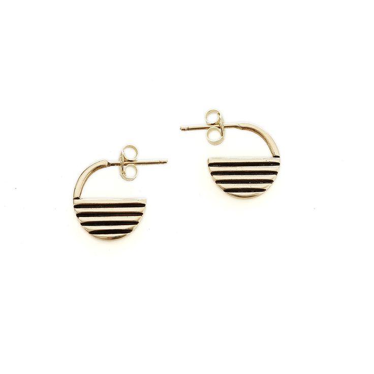 Yellow gold rise earrings   Dear Rae   Online Shop