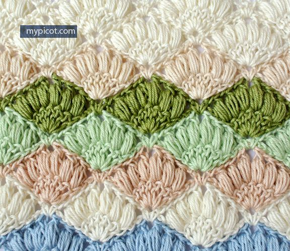 MyPicot | Crochet Shell Stitch | Free crochet patterns. // ♡ UH-OH...I THINK I HAVE ANOTHER FAVORITE! IT JUST LOOKS SO SOFT 'ND SMOOSHIE!!! GOSH I LOVE HER WORK! ♥A