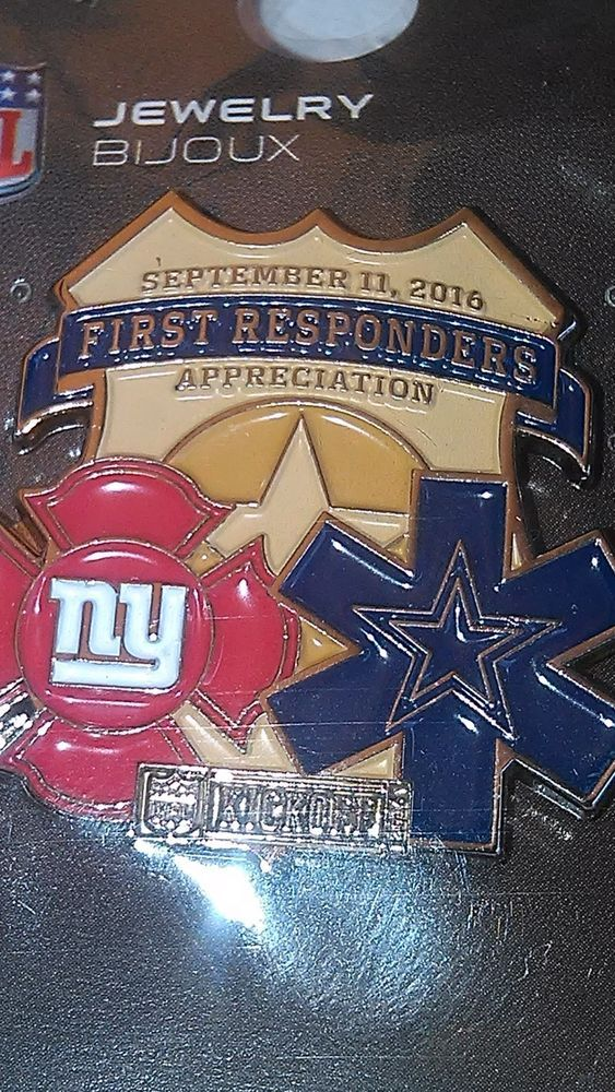 Dallas Cowboys NY Giants Game Day Pin Gameday 2016 9/11 FIRST RESPONDER Kickoff